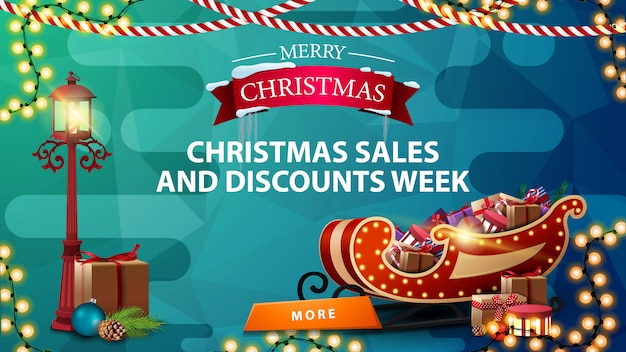 Christmas sales and discount week, blue discount banner