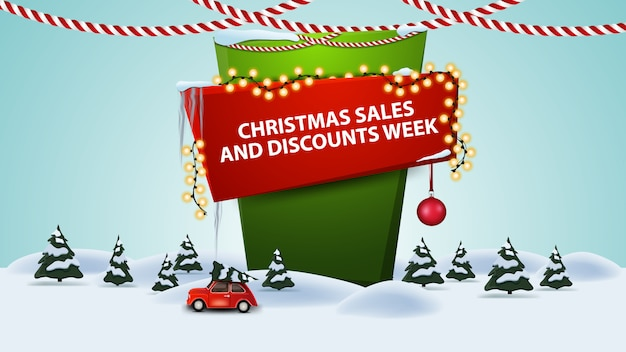 Christmas sales and discount week, cartoon discount banner with winter landscape with red vintage car carrying christmas tree