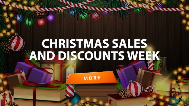 Christmas sales and discount week, discount banner with many presents in room with wooden wall and christmas decor