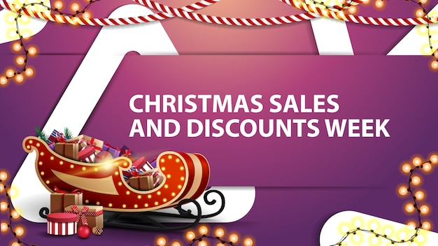Christmas sales and discount week, pink horizontal discount banner
