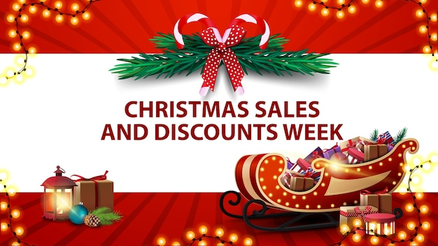 Christmas sales and discount week, red banner with horizontal white stripe, christmas tree wreath, vintage lantern and santa claus sleigh