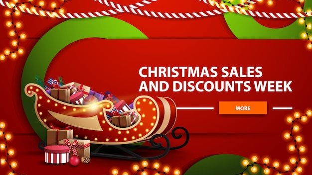 Christmas sales and discount week, red bright horizontal modern web banner