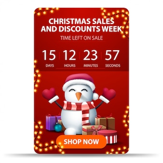 Christmas sales and discount week, red vertical banner with countdown timer, orange button and snowman in santa claus hat with gifts
