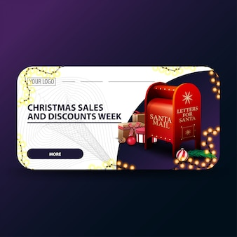 Christmas sales and discount week, white modern christmas discount banner