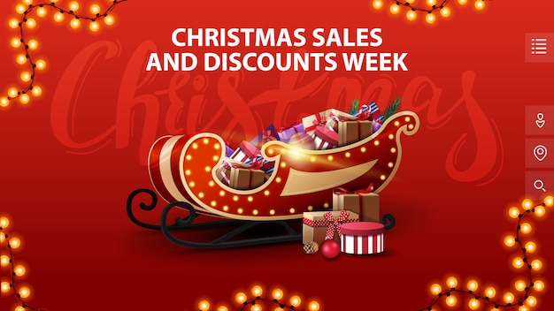 Christmas sales and discounts week, red banner with in minimalistic style with garland and santa sleigh with presents