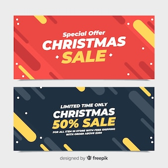 Christmas sales flat banner