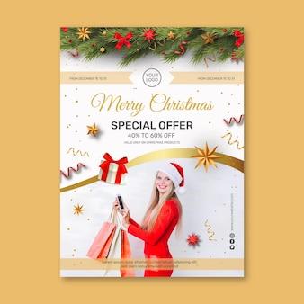 Флаер рождественских продаж a5 vertical