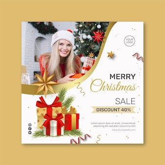 Christmas sales flyer square