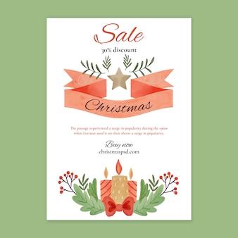 Шаблон флаера рождественских продаж