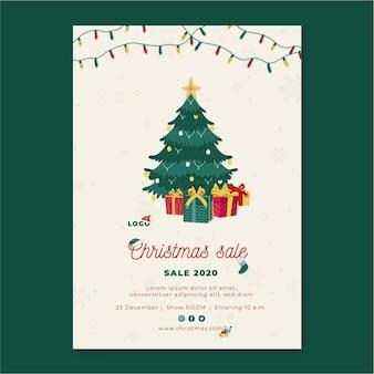 Рождественские продажи флаер вертикальный