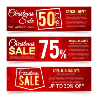 Christmas sales vector banners