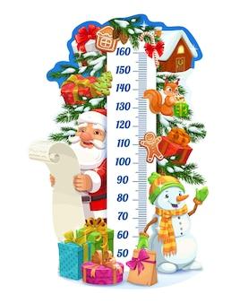크리스마스 산타와 선물 어린이 키 차트, 성장 측정기. 눈 덮인 가문비나무에 장식된 크리스마스 트리, 눈사람, 겨울 축제 장식이 있는 벡터 벽 스티커. 어린이 크기 측정 만화 통치자