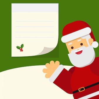 Christmas santa and blank note