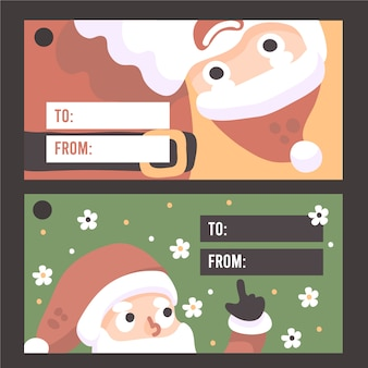 Christmas santa card, label or tag for christmas gifts. to from