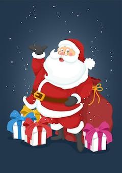 눈 속에서 크리스마스 산타 클로스와 선물 상자