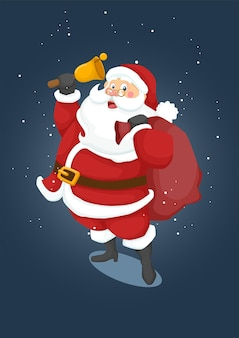 선물 가방과 벨을 들고 크리스마스 산타 클로스