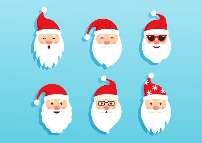 크리스마스 산타 클로스, 만화 머리 캐릭터, 새해 귀여운 컬렉션, 일러스트레이션