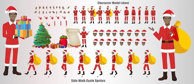Лист модели рождественского санта-клауса с анимацией цикла ходьбы и синхронизацией губ