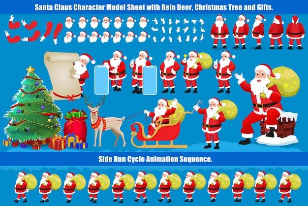걷기주기 애니메이션 및 립싱크가 포함 된 크리스마스 산타 클로스 캐릭터 디자인 모델 시트