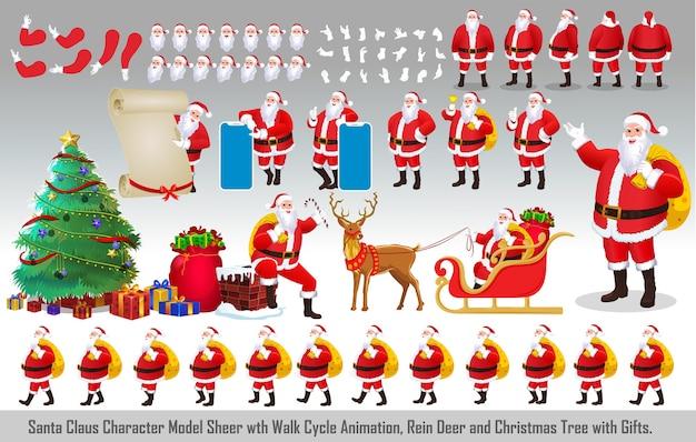 Christmas santa claus character design model sheet with walk cycle animation and lip sync