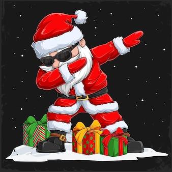 Рождественский персонаж санта-клауса танцует с очками и подарками по бокам