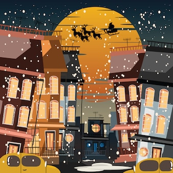 Christmas and santa claus in city vector illustration