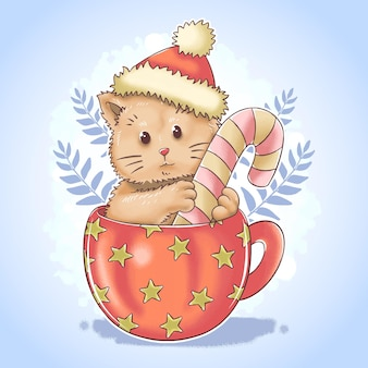 Christmas santa claus cute cat in teacup in watercolor style