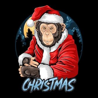 Рождество санта клаус милая обезьяна шимпанзе