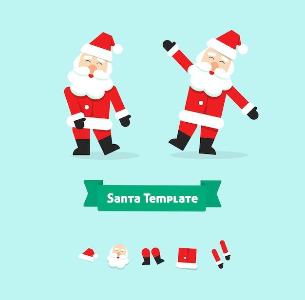 크리스마스 산타 클로스 춤 컬렉션 종이 스타일 일러스트