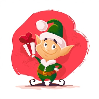 Рождество санта клаус эльф персонаж портрет. мультяшный стиль иллюстрации. с новым годом, с рождеством христовым элемент. подходит для поздравительной открытки, живодер, плакат.
