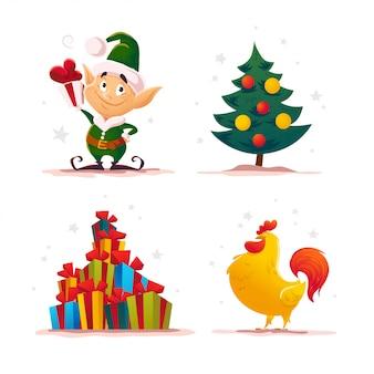 クリスマスサンタクロースエルフキャラクターの肖像画。漫画スタイルのイラスト。明けましておめでとう、メリークリスマス要素。お祝いカード、フレア、ポスターに最適です。