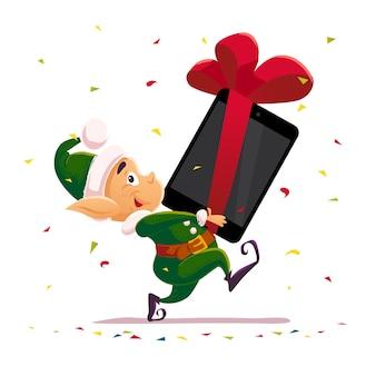 クリスマスサンタクロースエルフキャラクターの肖像画。図。明けましておめでとう、メリークリスマス要素。お祝いカード、バナー、フレア、リーフレット、ポスターに適しています。