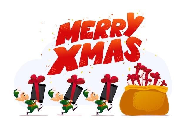Рождество санта клаус эльф персонаж портрет. иллюстрация. с новым годом, с рождеством христовым элемент. хорошо подходит для поздравительной открытки, баннера, флаера, листовки, плаката.