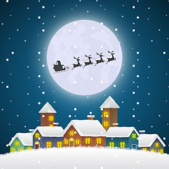Christmas santa claus flying on a sleigh over the winter village with full moon. merry christmas and happy new year background for greeting or postal card