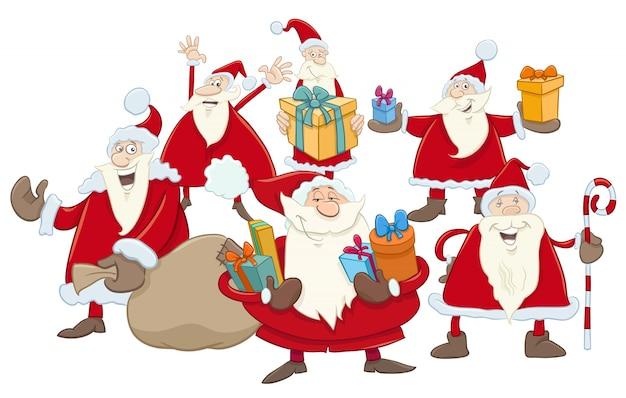 クリスマスサンタクロースグループイラスト