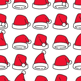 クリスマスサンタクロース帽子シームレスパターン