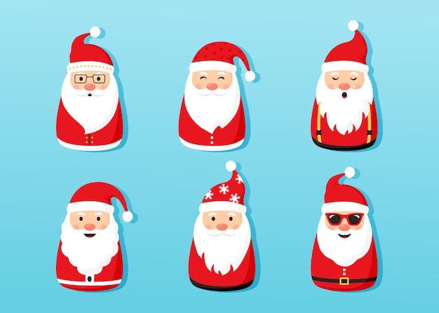 クリスマスサンタクロースアイコン、漫画の文字セット