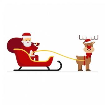 Christmas santa claus jumps on deer and sledge.
