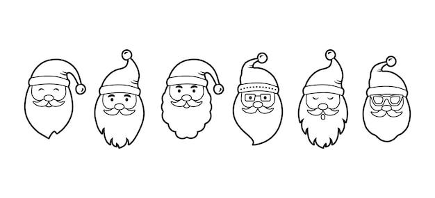 クリスマスサンタクロースライン顔アイコン、漫画のキャラクター、新年のセット、休日のイラスト