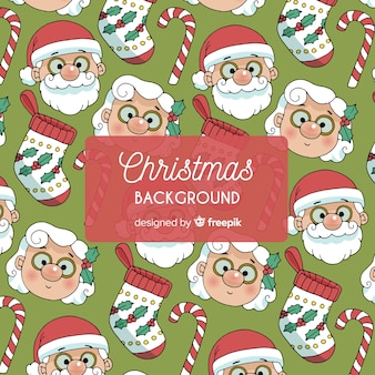 Christmas santa claus mrs claus pattern background