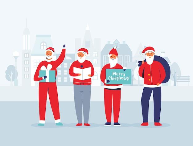 Рождественский санта-клаус на фоне городского пейзажа. симпатичные плоские персонажи зимних праздников. поздравительная открытка с новым годом с дедом морозом и подарками.