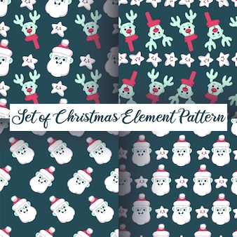 Christmas santa claus and reindeer seamless pattern set