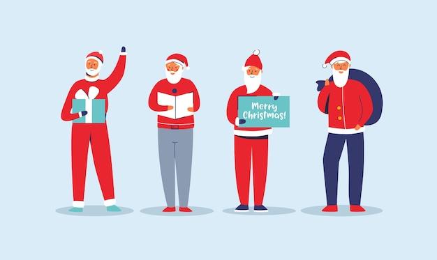 Рождественский набор санта-клауса. симпатичные плоские персонажи зимних праздников. поздравительная открытка с новым годом с дедом морозом и подарками.