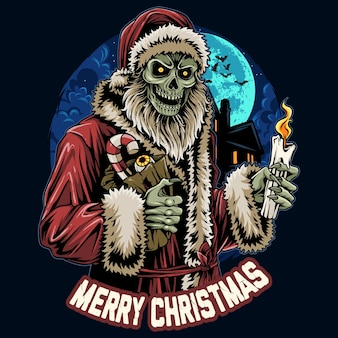 Christmas santa claus skull zombie holding candle at midnight