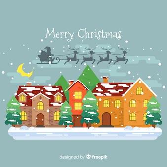 Christmas santa claus sleigh shadow background