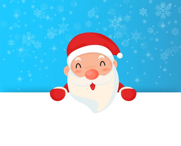 Christmas santa claus and snowflake with blank banner.
