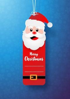 Christmas santa claus tag or label