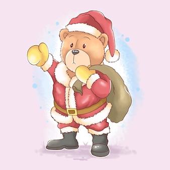 Christmas santa claus teddy bear carrying a bag full of christmas gifts watercolor