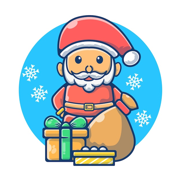 バッグとギフトボックス付きのクリスマスサンタクロース