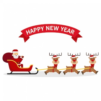 Christmas santa claus with deer sleigh